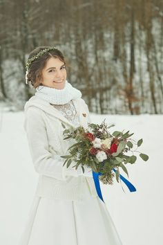 Winter bride, winter boquet