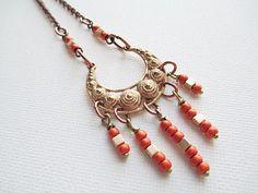 Orange Bead Necklace Mixed Metal Beaded by LittleBitsOFaith