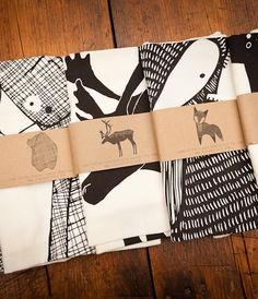 Screen Printed Animal Tea Towels by Gingiber