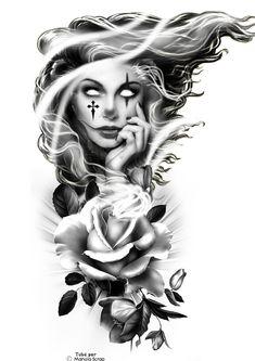 Floral Tattoo Design, Tattoo Design Drawings, Tattoo Sketches, Lettrage Chicano, Chicano Tattoos, Tattoos Realistic, Creepy Tattoos, Girl Face Tattoo, Tattoo Girls