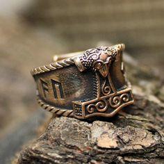Bronze AUJA Runes Good Luck Mjolnir Thor Hammer door MAGICrebEL