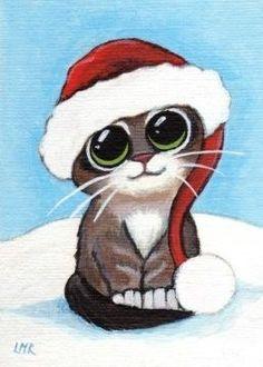 Shop Cute Tabby Kitten Wearing Santa Hat Christmas Card created by LisaMarieArt. Xmas Drawing, Christmas Drawing, Christmas Kitten, Christmas Animals, Gato Doodle, Animal Drawings, Cute Drawings, Kitten Drawing, Christmas Paintings On Canvas