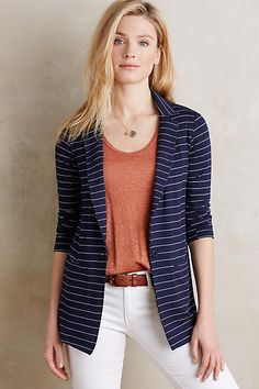 Striped Knit Blazer - anthropologie.com - love the length and the push-up sleeves.