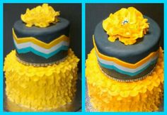 Chevron and ruffle graduation cake created by Alicia @ Phat N Sassy Sweets