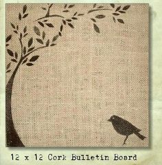 burlap cork board - use sillhouette to cut stencil to paint on?