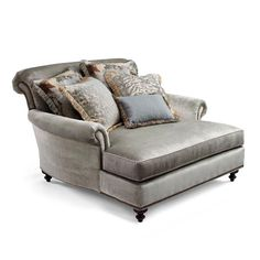 Cybil Chaise And A Half - Brussels Seamist - Frontgate Chaise Bedroom, Grey Bedroom Furniture, Outdoor Furniture Plans, Deck Furniture, Living Room Sets, Living Room Chairs, Patterned Armchair, Chair And A Half, Trendy Furniture