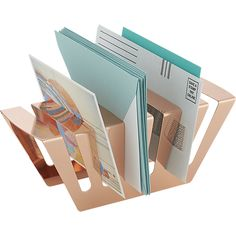 balance rose gold letter holder in storage accessories | CB2