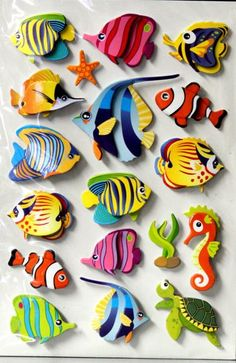 "This is a pack of Tropical Fish Dimensional Stickers. This package measures approximately 5"" x 9.25"" and contains 18 pieces which are great to embellish cards, tags, scrapbook pages or any other project. Just peel and stick and you are finished."