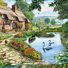Cottage By The Lake by Steve Crisp Thomas Kinkade Art, Halloween Apothecary, Fairytale Cottage, Fantasy Art Landscapes, Summer Months, Painted Rocks, 3 D, Art Projects, Wall Art