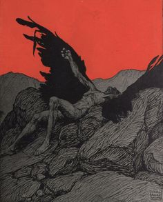 Illustration by German/Austrian artist, Karl Alexander Wilke Art And Illustration, Ange Demon, Arte Obscura, Arte Sketchbook, Angels And Demons, Fallen Angels, Gravure, Dark Art, Art Inspo