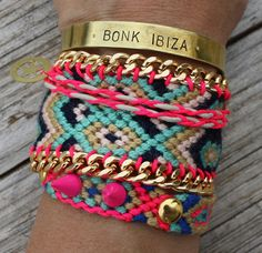 LOVEEE THESE Pink Green Black White Friendship Bracelet with