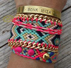 OOAK friendship bracelet in beautiful neon colors by Ibonkza