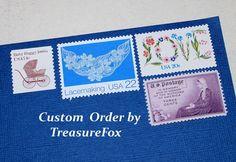 Reserved Custom Order for Malia .. Unused Vintage US Postage Stamps by TreasureFox on Etsy