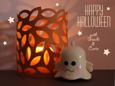 cute candle surround cut from a file folder, which makes a nice autumn color. (blog in Italian, but good pictorial DIY