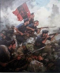 A portrait honoring the heroism of the Spanish Nationalists as they charge into battle against their socialist rivals while proudly wielding their flag emblazoned with the Falange Party symbol while fighting in the Spanish Civil War Military Art, Military History, Military Uniforms, World History, Art History, Spanish War, Civil War Art, Historical Art, Poster On