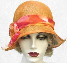 Cloche Summer Hat in 1920's Vintage Flapper Style Tangerine