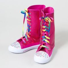Sequin Sneakers with Rainbow Laces