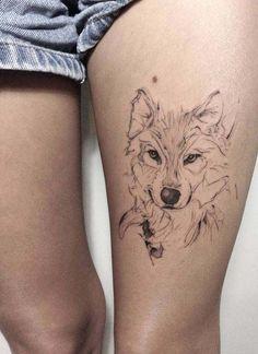 very nice tiger style man tattoo