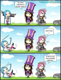 Caitlyn, Jinx & Vi, League Of Legends - COSPLAY IS BAEEE! Tap the pin now to grab yourself some BAE Cosplay leggings and shirts! From super hero fitness leggings, super hero fitness shirts, and so much more that wil make you say YASSS! League Of Legends Poppy, League Of Legends Comic, Best Pc Games, Gaming, Funny Video Memes, Funny Comics, Pokemon, Pikachu, Chibi