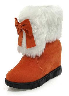 Women's Sweet Solid Faux Fur Lined Bow Mid Wedge Heel Platform Winter Snow Boot