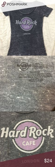 Hard Rock Cafe London soft washed vintage look tee No need to travel! Genuine Hard Rock Cafe ladies cut tee from London! Soft vintage wash, scoop neck. Size XS. Tops Tees - Short Sleeve