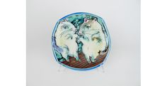 "Dating Rats Platter, Porcelain, slips and glazes, 1"" x 10"" x 10"", 2014"