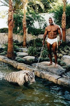 Mike Tyson and his pet Tiger.
