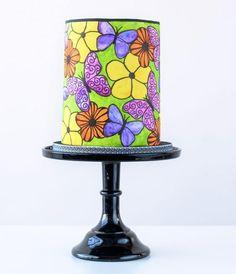 Flower & Butterfly Doodle Cake