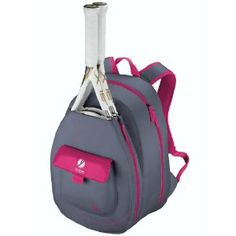 """Wilson '13 Hope Tennis Backpack by Wilson. $44.95. BW1083. Padded backpack straps for a more comfortable feel on your back. Large main compartment holds all your equipment. PVC Free. Front pocket for small accessories. The Wilson Hope Tennis Backpack helps fund the Breast Cancer Research Foundation. Color: Pink. Dimensions: 28.75L"""" x 5W"""" x 13.5H"""""""