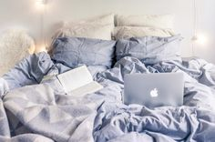 cozy bed grey sheets macbook computer fall book Start Living Your Best Life - Blogi | Lily.fi