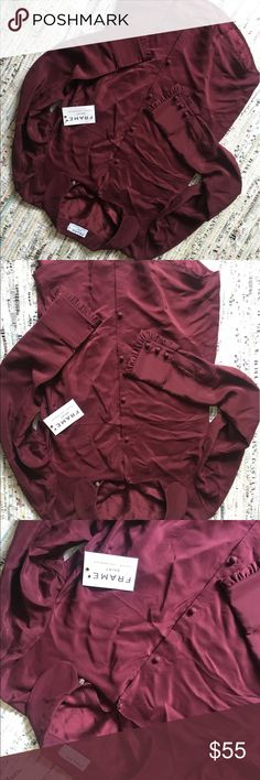 SALE NWT Frame Burgundy Silk Shirt 100 percent silk burgundy long sleeved button down shirt. Size small, NWT. Never worn, received as gift. Sale, firm price. Frame Denim Tops Blouses