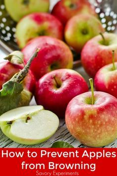 Three easy ways how to prevent apples from browning. You will already have all of the items in your kitchen pantry. Treated apples can be used in any recipe!