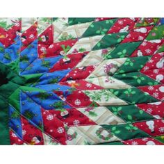 Hand Made Quilted Star Christmas Tree Skirt Green Binding FREE US SHIPPING On