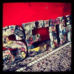 boys room- 4 Letters in Vintage Comics Superhero Avengers, Batman, Deadpool… Avengers Room, Superhero Room, Superhero Party, Kids Bedroom, Kids Rooms, Bedroom Ideas, Boy Rooms, Master Bedrooms, Man Room
