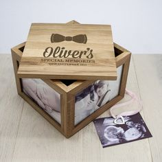 Personalised Engraved New Baby Boy Gift  /'It/'s a Boy/' Oak Photo Box Album