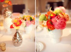 lovely centerpiece in sorbet colors