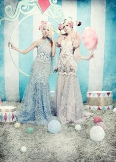 circus, candy coton, wedding, bride
