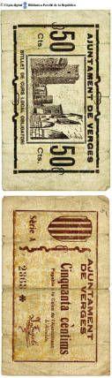 Verges - 50 cts. : Ajuntament de Verges, cinquanta cèntims, pagable a la Caixa de l'Ajuntament :: Paper moneda del Pavelló de la República (Universitat de Barcelona)