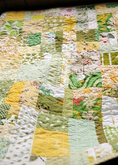 Lovely citrus colored scrappy quilt.
