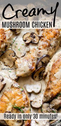 Creamy Mushroom Chicken, Chicken Mushroom Recipes, Easy Chicken Dinner Recipes, Creamy Mushrooms, Stuffed Mushrooms, Chicken And Mushroom Casserole, Chicken Recipes With Sauce, Delicious Chicken Recipes, Chicken Supper Ideas