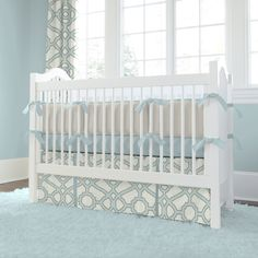 Crib Dust Ruffle in Spa and Gray Fretwork by Carousel Designs.