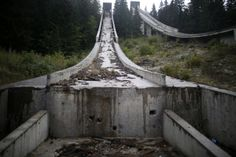 abandoned 1984 winter olympics facilities - The bottom of the ski jump