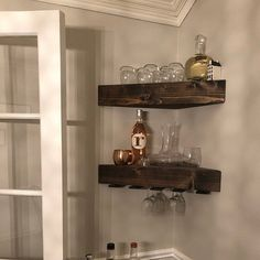 Glass shelves In Bathroom Niche - Old Glass shelves - - Corner Wine Rack, Corner Shelves Kitchen, Dining Room Shelves, Wine Rack Wall, Wood Wine Racks, Corner Shelf, Corner Bar, Wine Glass Shelf, Glass Shelves In Bathroom