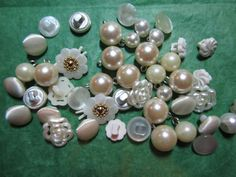 """40 - 3/8""""+ DECORATIVE WHITE SHANK BUTTONS - ASSORTED Lot#334"""