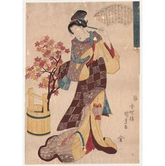 "Large original Woodblock Print  ""Beauty with Autumn Leaves""  by  Utagawa Kunisada - Japan - 1845 - Catawiki"