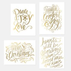 Assorted Gold Foil Holiday Card Set - Set of 8