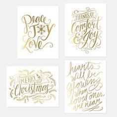 Assorted Gold Foil Holiday Card Set - Set of 8