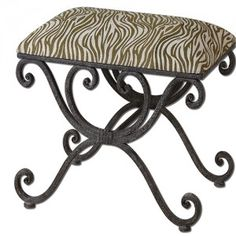 Aleara, Small Bench - Weathered, wrought iron scrolled bench with soft cushioned top in cream and olive linen-cotton blend. Unique Home Decor, Home Decor Items, Contemporary Bedroom Benches, Wrought Iron Bench, New Home Wishes, Small Bathroom Vanities, Bathrooms, Small Bench, Iron Furniture
