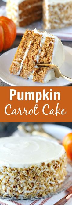 Pumpkin Carrot Cake with Cream Cheese Frosting - A moist layer cake filled with pumpkin, carrots, and spices. Easy cake recipes for beginners Best Cake Recipes, Carrot Recipes, Pumpkin Recipes, Cupcake Recipes, Baking Recipes, Cupcake Cakes, Dessert Recipes, Cupcakes, Pumpkin Carrot Cake Recipe