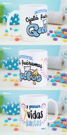 ¡Taza 7 vidas! Taza de ceramica 11 oz. ¡Ojala fuéramos gatos y pasar 7 vidas juntos! #amor #taza #cup #cats #gatos #gatos #catlover #tornasol #tienda #regalos #love #cute #veracruz #vida